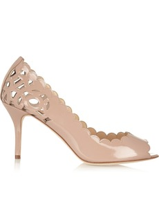Oscar de la Renta Miss Elle laser-cut patent-leather pumps