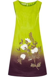 Oscar de la Renta Ombré-effect embroidered silk-twill dress