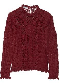 Oscar de la Renta Open-knit cashmere sweater