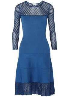 Oscar de la Renta Paneled crochet-knit dress