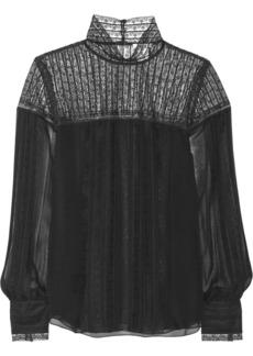 Oscar de la Renta Paneled silk-chiffon and lace top