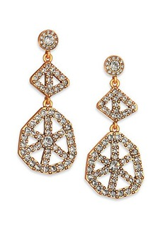 Oscar de la Renta Pavé Crystal Scalloped Web Drop Earrings