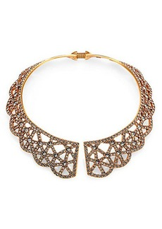 Oscar de la Renta Pavé Scalloped Lace Web Collar Necklace