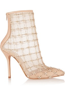 Oscar de la Renta Pearlette embellished leather and mesh ankle boots