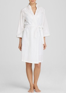 Oscar de la Renta Pink Label Embroidered Cotton Robe