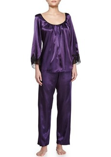 Oscar de la Renta Pink Label Lace Luster 3/4-Sleeve Pajama Set, Purple