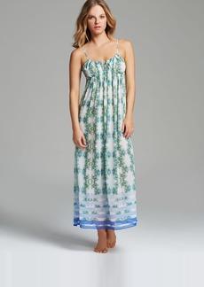 Oscar de La Renta Pink Label Trellis Border Georgette Long Gown