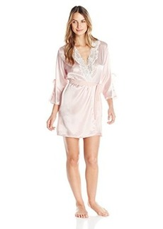 Oscar de la Renta Pink Label Women's Solid Charmeuse and Georgette Short Robe