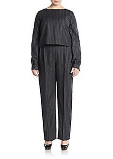 Oscar de la Renta Pinstriped Knit Jumpsuit