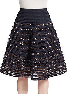 Oscar de la Renta Pleated Embroidered-Stripe Skirt
