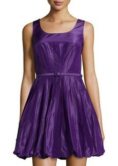 Oscar de la Renta Pleated Fit-and-Flare Bubble Dress