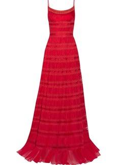 Oscar de la Renta Pleated silk-organza gown