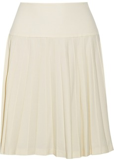 Oscar de la Renta Pleated stretch-wool skirt