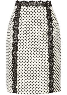 Oscar de la Renta Polka-dot cotton-blend pencil skirt