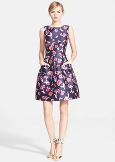 Oscar de la Renta Poppy Print Mikado Fit & Flare Dress