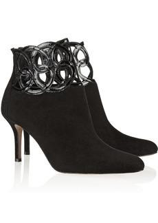 Oscar de la Renta Primavera patent-leather and suede ankle boots