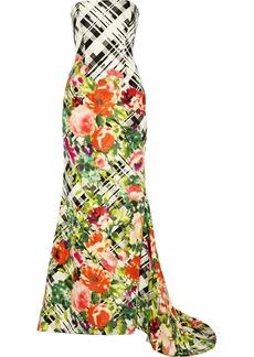 Oscar de la Renta Printed silk-faille gown