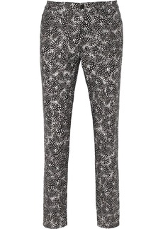 Oscar de la Renta Printed stretch-cotton skinny pants