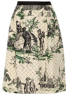 Oscar de la Renta Quilted silk skirt