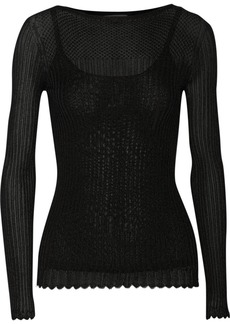 Oscar de la Renta Ribbed-knit top