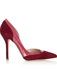 Oscar de la Renta Roberta suede and metallic leather pumps