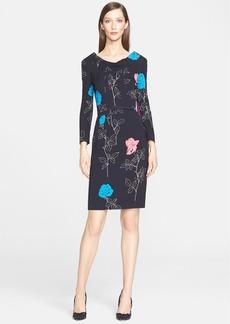 Oscar de la Renta Rose Print Crepe Back Satin Sheath Dress