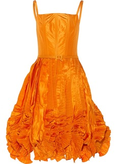 Oscar de la Renta Ruffled silk-satin dress
