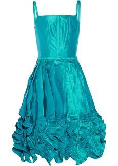 Oscar de la Renta Ruffled silk-satin mini dress
