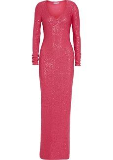 Oscar de la Renta Sequined cotton-blend gown