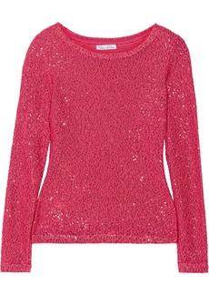 Oscar de la Renta Sequined cotton-blend sweater