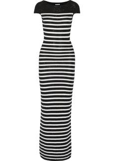 Oscar de la Renta Sequined knitted cotton-blend gown