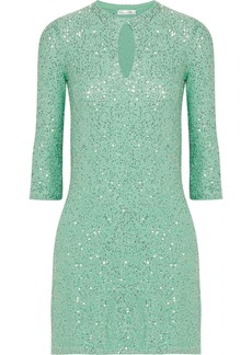 Oscar de la Renta Sequined silk-blend mini dress