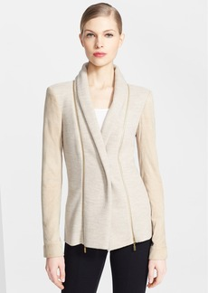Oscar de la Renta Shawl Collar Wool & Cashmere Jacket