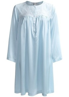 Oscar de la Renta Signature Short Charmeuse Nightgown - Long Sleeve (For Women)