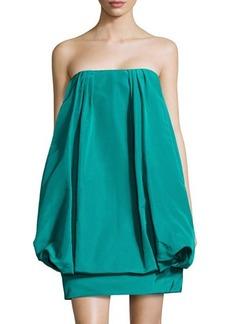Oscar de la Renta Silk Strapless Bubble Dress