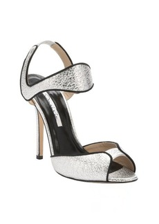 Oscar de la Renta silver leather 'Annabel' ankle strap sandals