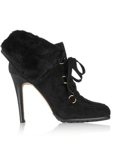 Oscar de la Renta Sisi shearling and suede ankle boots