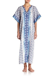 Oscar de la Renta Sleepwear Blue Lotus Cotton Caftan