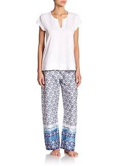 Oscar de la Renta Sleepwear Blue Lotus Cotton Pajamas