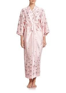 Oscar de la Renta Sleepwear Jewel-and-Lace Print Satin Jersey Robe