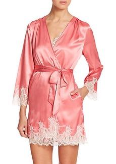 Oscar de la Renta Sleepwear Lace-Trimmed Satin Robe