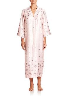 Oscar de la Renta Sleepwear Printed Zip Caftan
