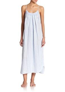 Oscar de la Renta Sleepwear Shadow Stripe Cotton Gown