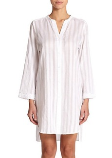 Oscar de la Renta Sleepwear Shadow Stripe Cotton Sleepshirt