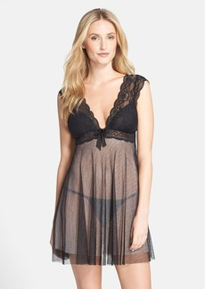 Oscar de la Renta Sleepwear 'Tempting' Lace & Tulle Chemise with Thong
