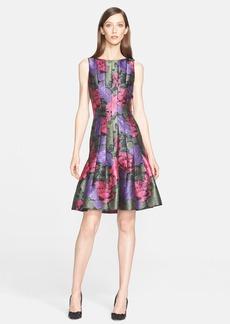 Oscar de la Renta Sleeveless Floral Print Dress