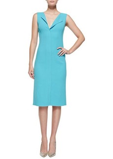 Oscar de la Renta Sleeveless Fold-Collar Sheath Dress