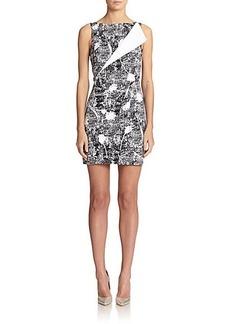 Oscar de la Renta Stretch-Cotton Contrast-Lapel Dress