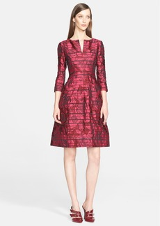 Oscar de la Renta Stripe Rose Jacquard Dress