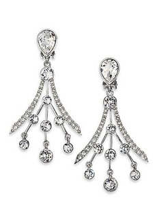 Oscar de la Renta Swarovski Crystal Fan Earrings